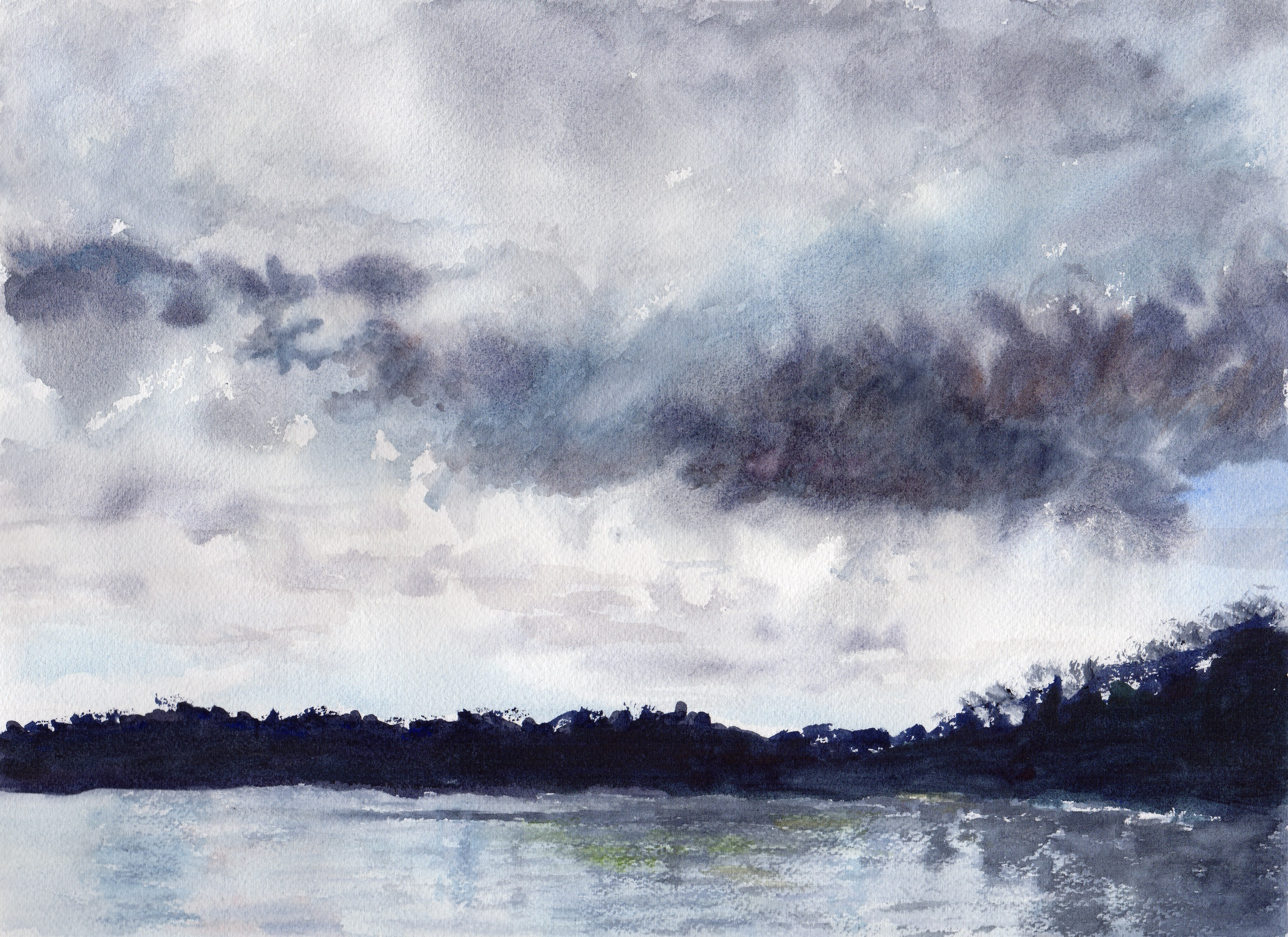 stormy clouds, watercolor by Mary Beth Frezon